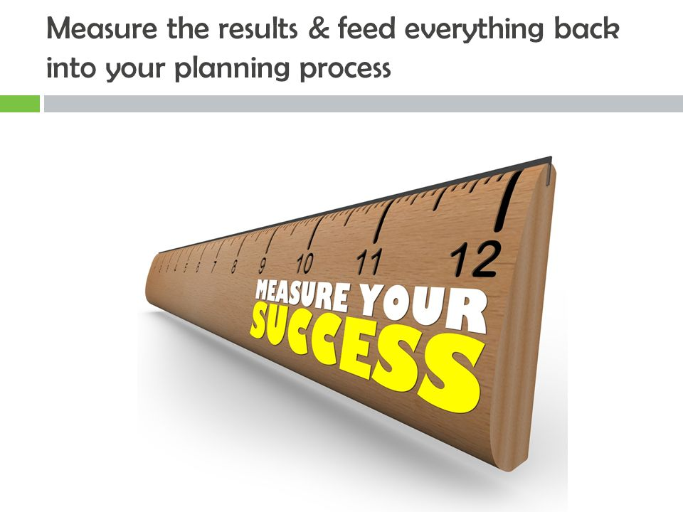 Measure the results & feed everything back into your planning process