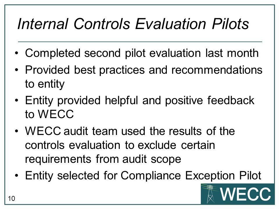 Internal Controls Evaluation Pilots