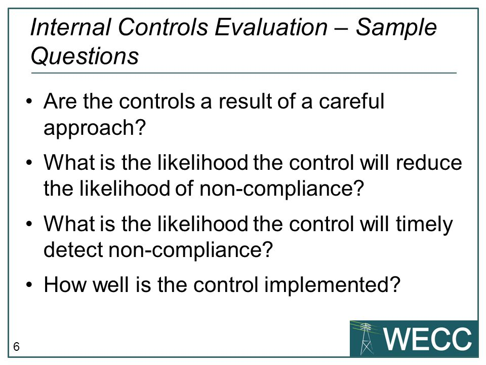 Internal Controls Evaluation – Sample Questions