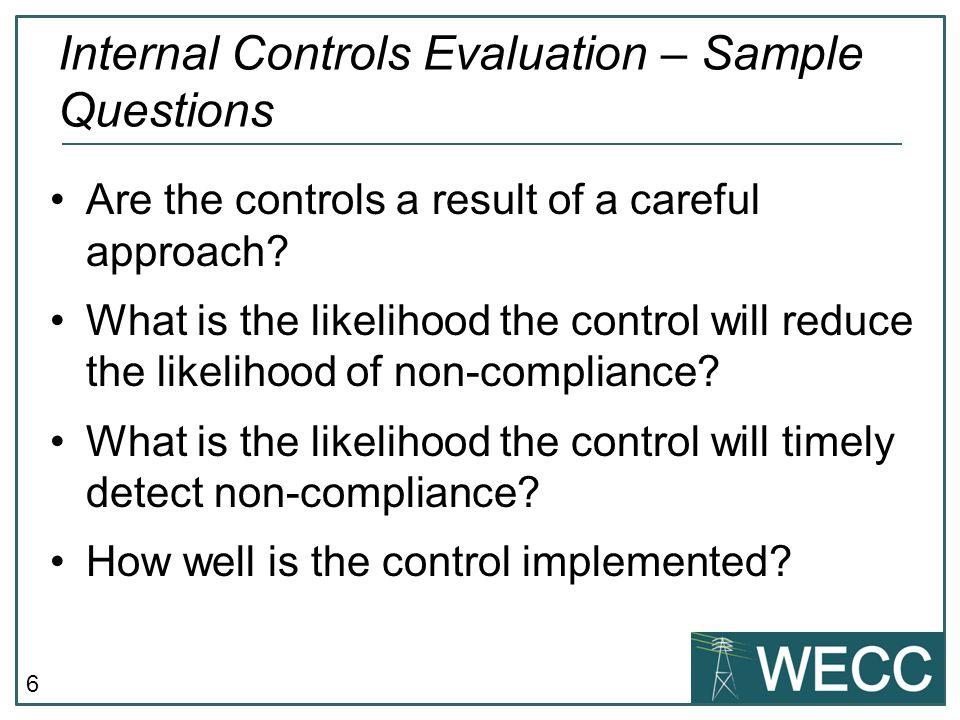 Internal Controls Evaluation – Sample Questions