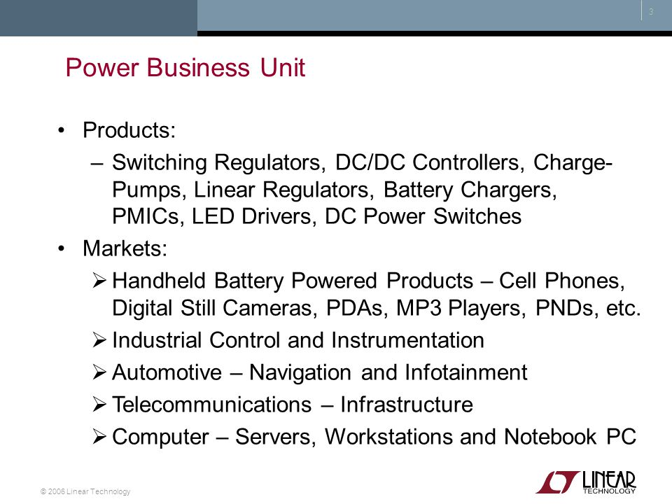 Power Business Unit Products:
