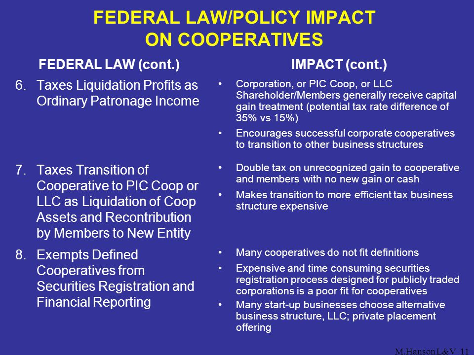 FEDERAL LAW/POLICY IMPACT ON COOPERATIVES