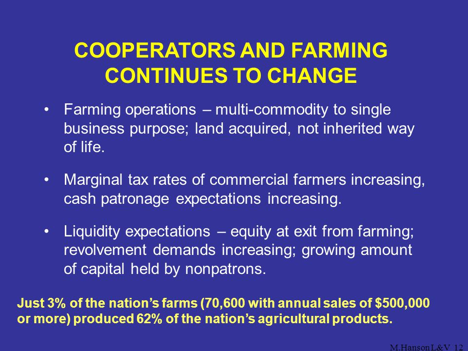 COOPERATORS AND FARMING CONTINUES TO CHANGE