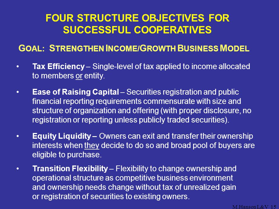 FOUR STRUCTURE OBJECTIVES FOR SUCCESSFUL COOPERATIVES