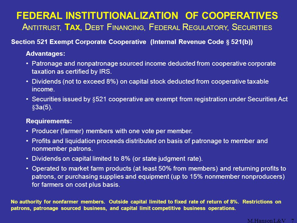 FEDERAL INSTITUTIONALIZATION OF COOPERATIVES ANTITRUST, TAX, DEBT FINANCING, FEDERAL REGULATORY, SECURITIES