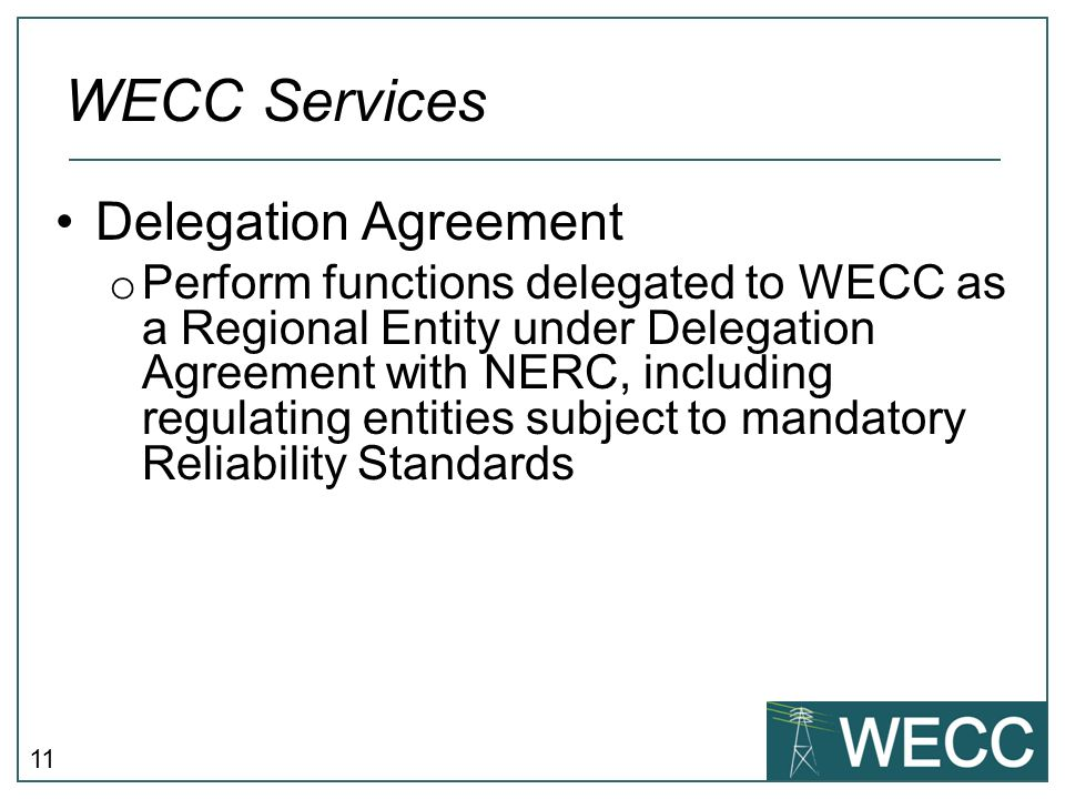 WECC Services Delegation Agreement
