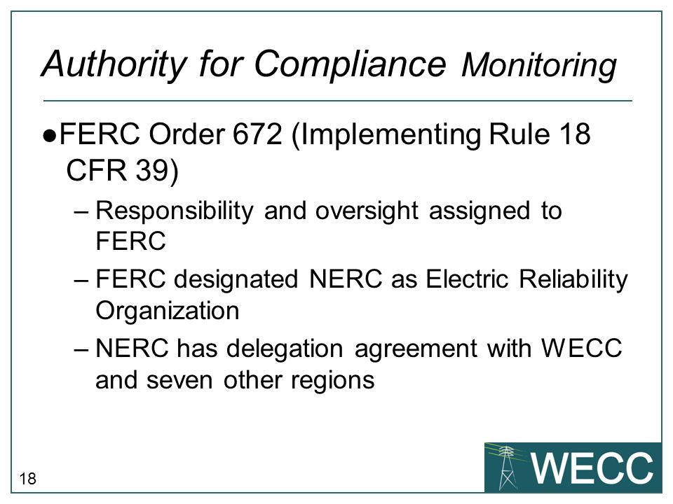 Authority for Compliance Monitoring