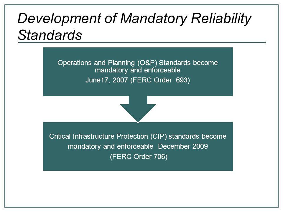 Development of Mandatory Reliability Standards