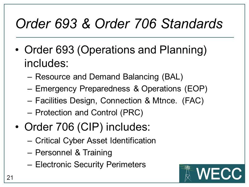 Order 693 & Order 706 Standards
