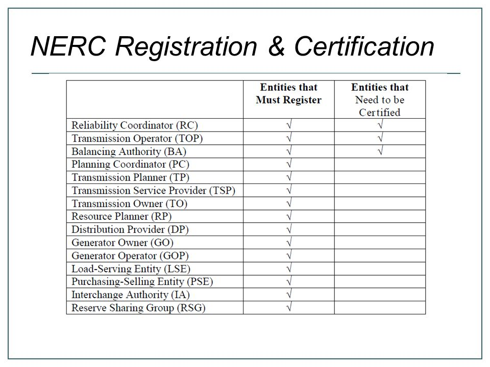 NERC Registration & Certification