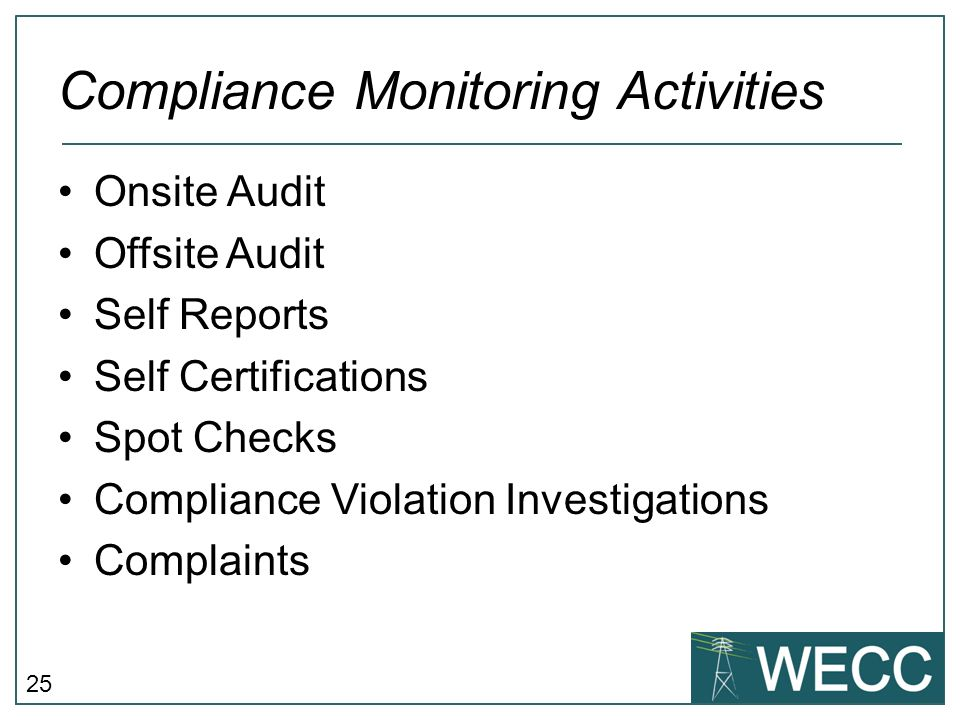 Compliance Monitoring Activities