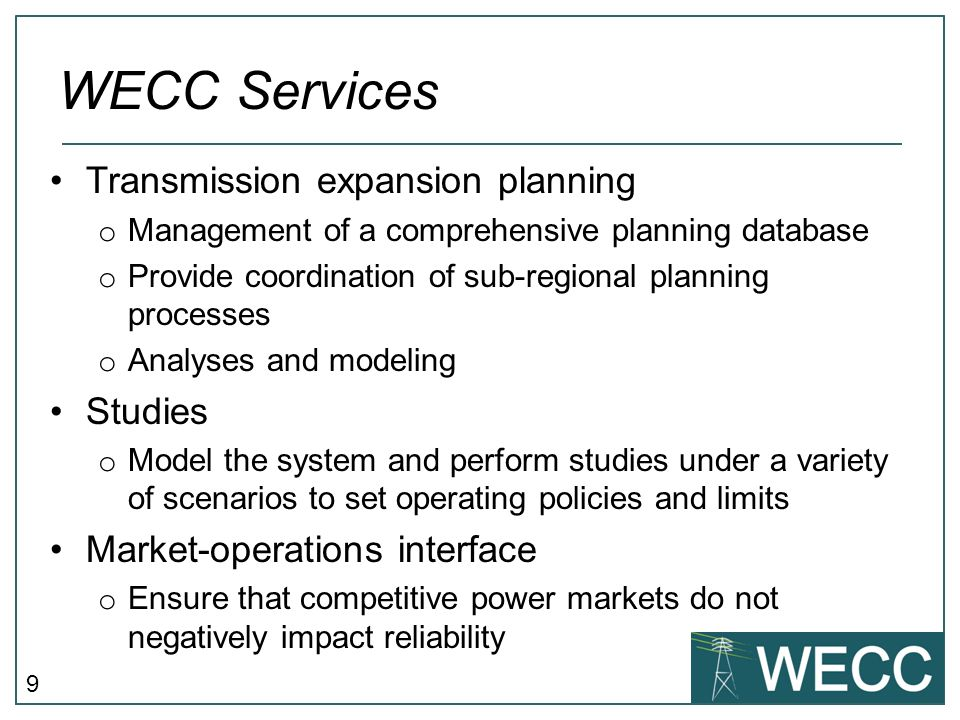 WECC Services Transmission expansion planning Studies