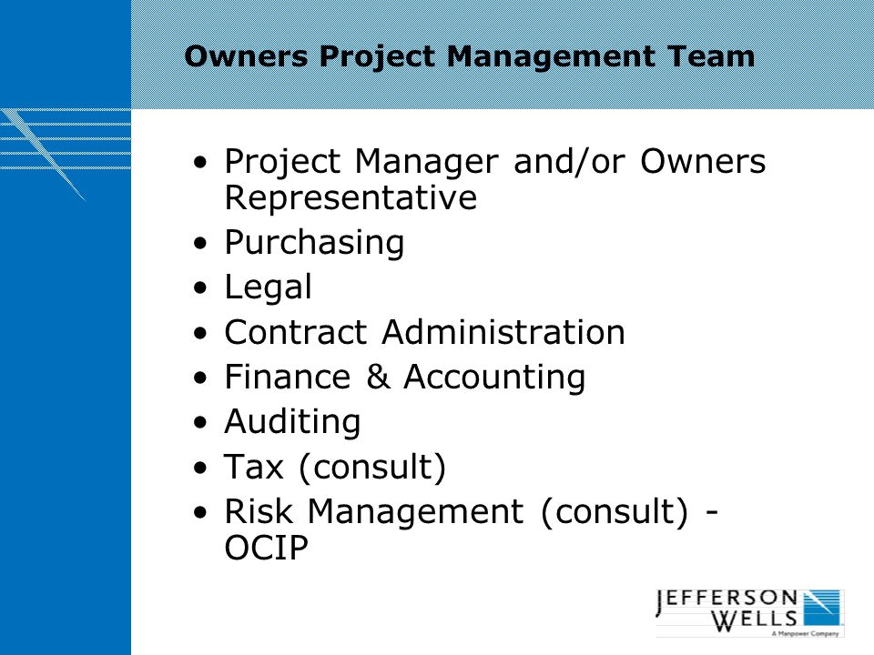 Owners Project Management Team