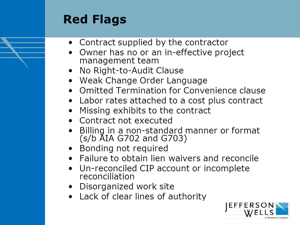Red Flags Contract supplied by the contractor