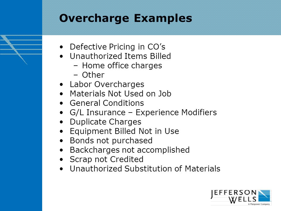 Overcharge Examples Defective Pricing in CO's