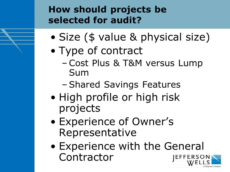 How should projects be selected for audit