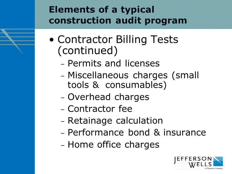 Elements of a typical construction audit program