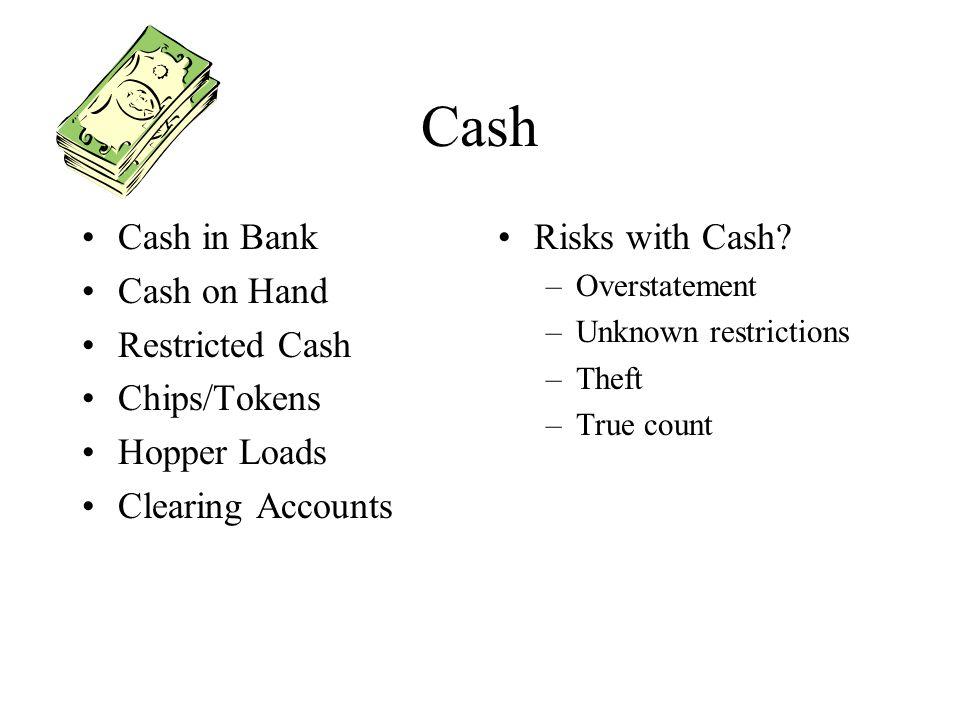 Cash Cash in Bank Cash on Hand Restricted Cash Chips/Tokens
