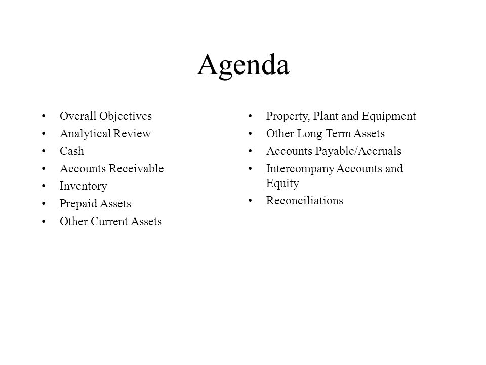 Agenda Overall Objectives Analytical Review Cash Accounts Receivable