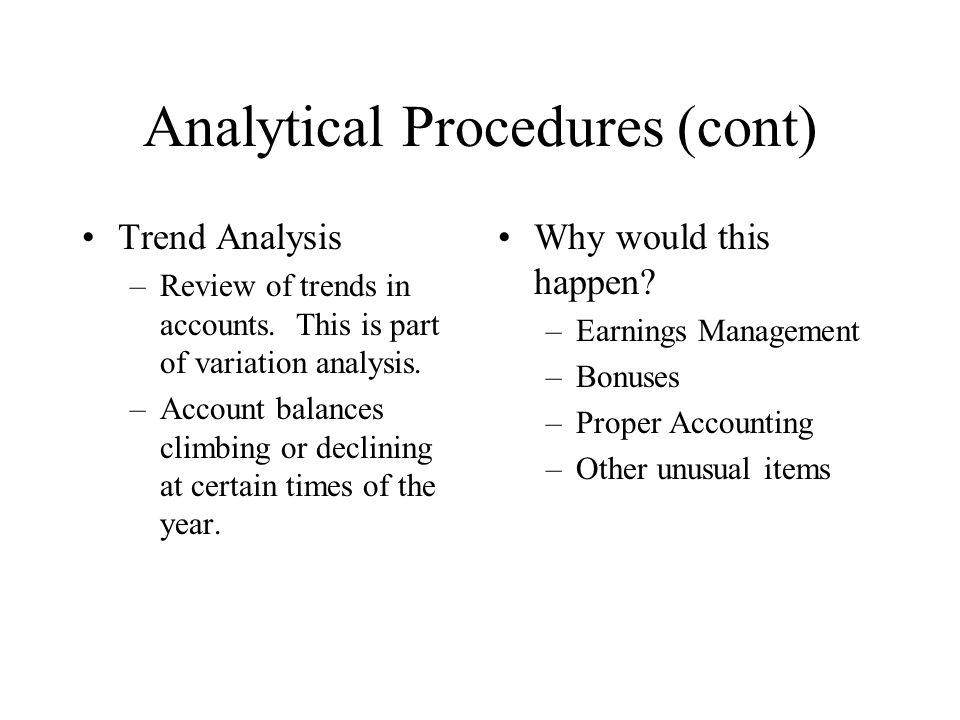 Analytical Procedures (cont)