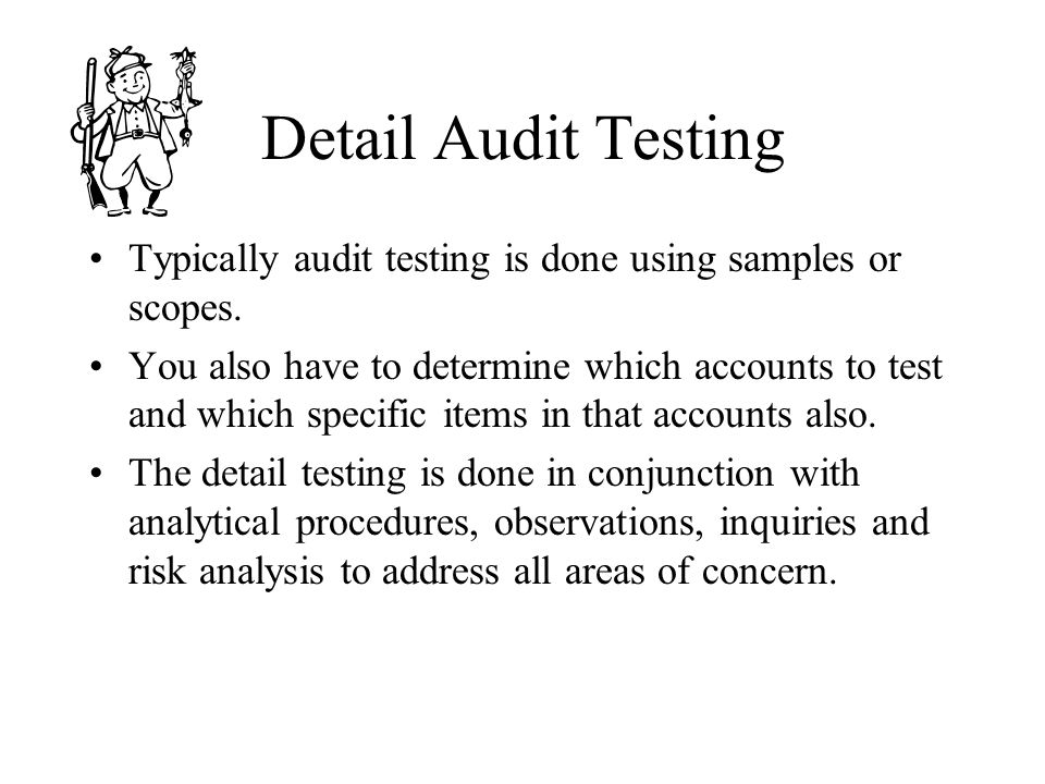 Detail Audit Testing Typically audit testing is done using samples or scopes.