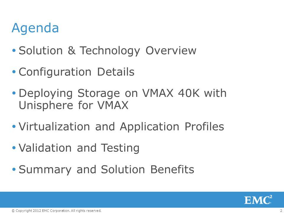 Agenda Solution & Technology Overview Configuration Details