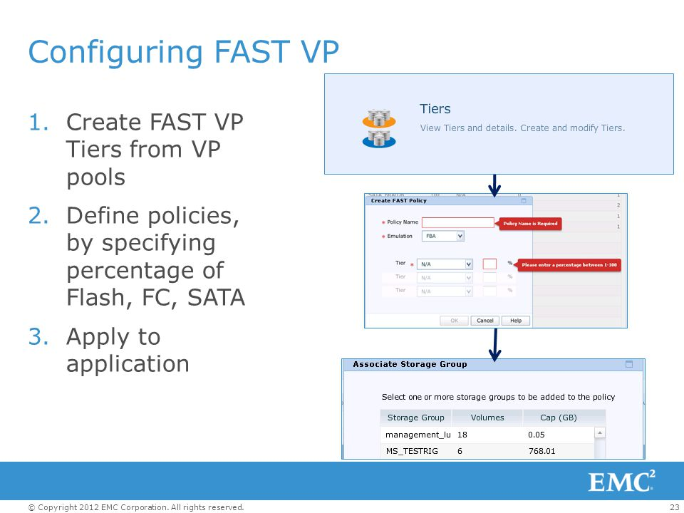 Configuring FAST VP Create FAST VP Tiers from VP pools