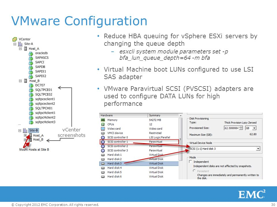 VMware Configuration Reduce HBA queuing for vSphere ESXi servers by changing the queue depth.