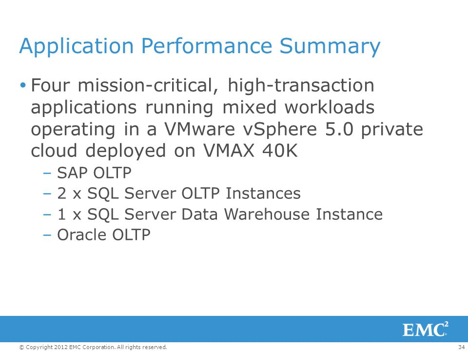 Application Performance Summary