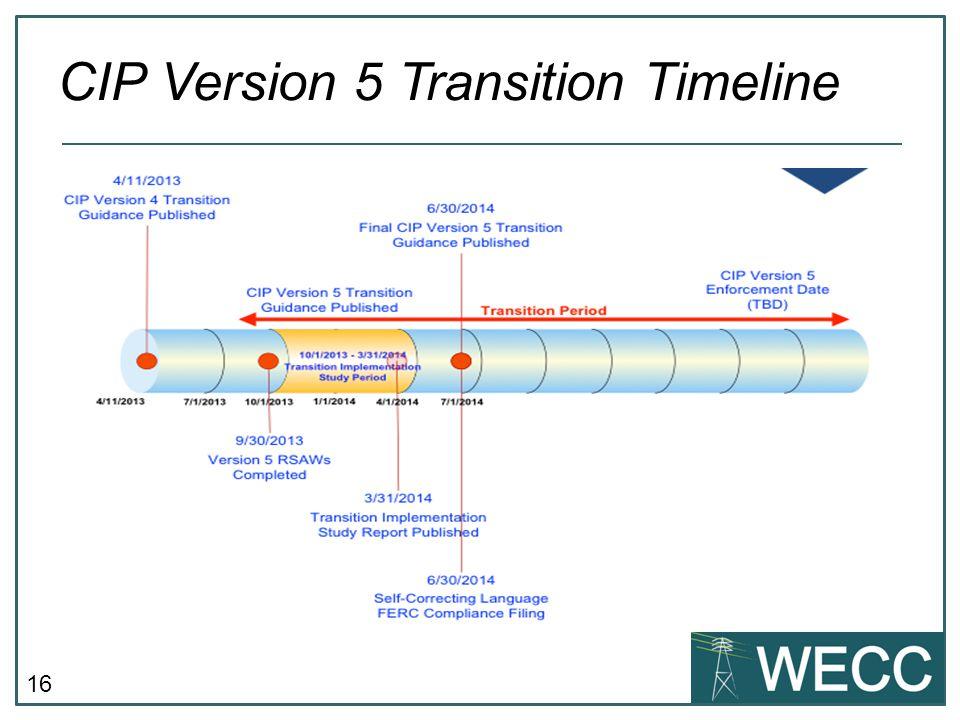 CIP Version 5 Transition Timeline