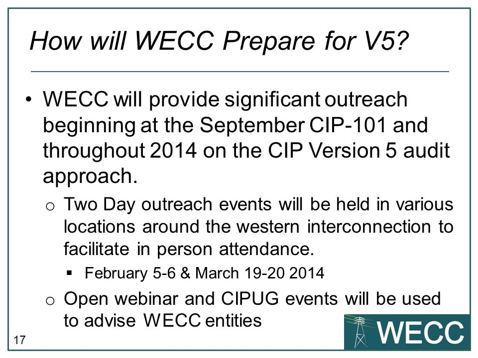 How will WECC Prepare for V5