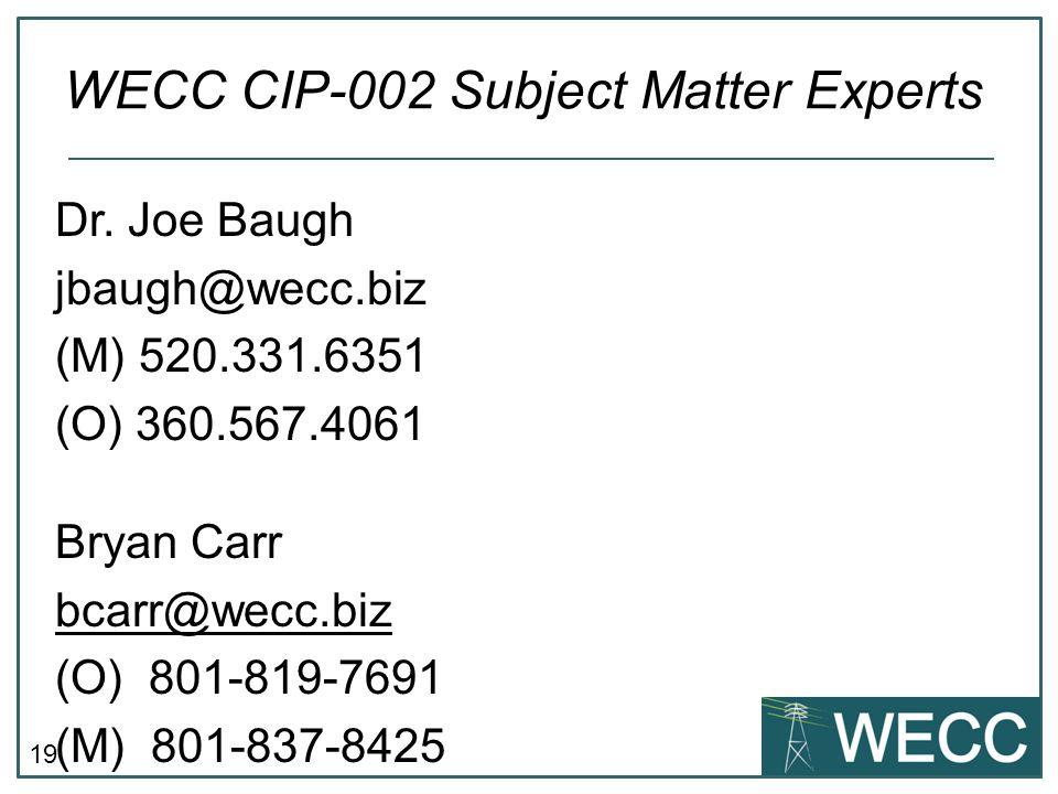 WECC CIP-002 Subject Matter Experts