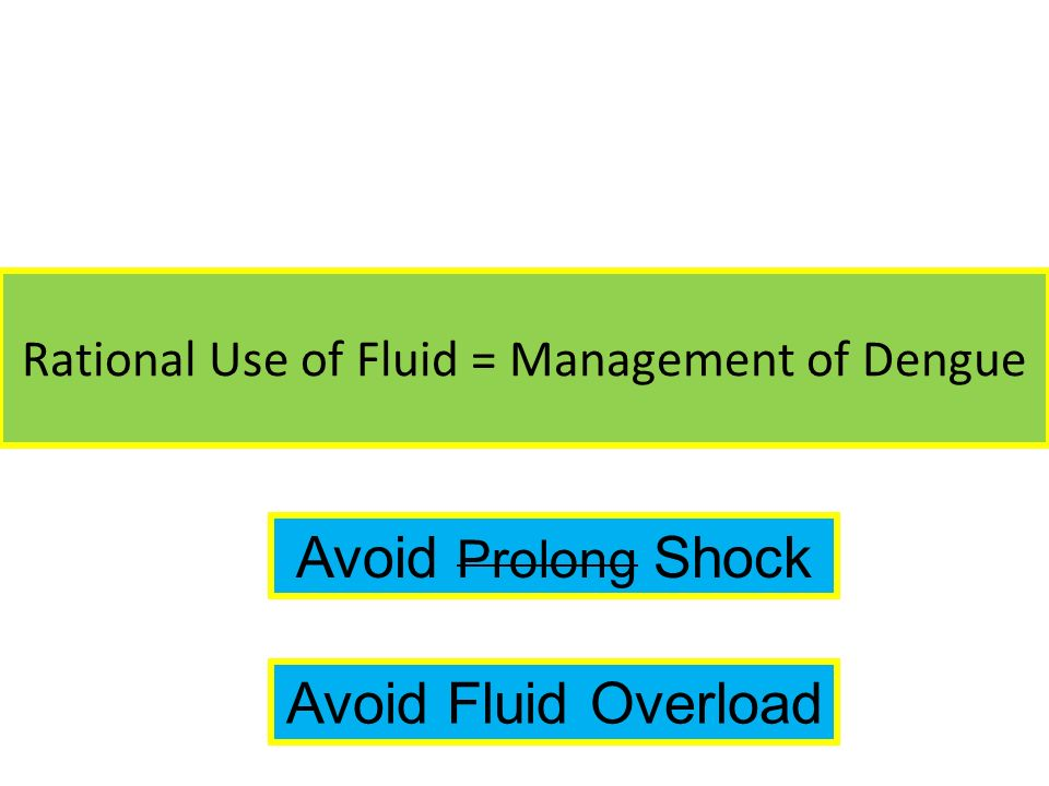 Rational Use of Fluid = Management of Dengue
