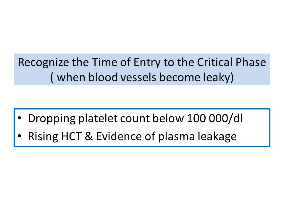 Recognize the Time of Entry to the Critical Phase ( when blood vessels become leaky)