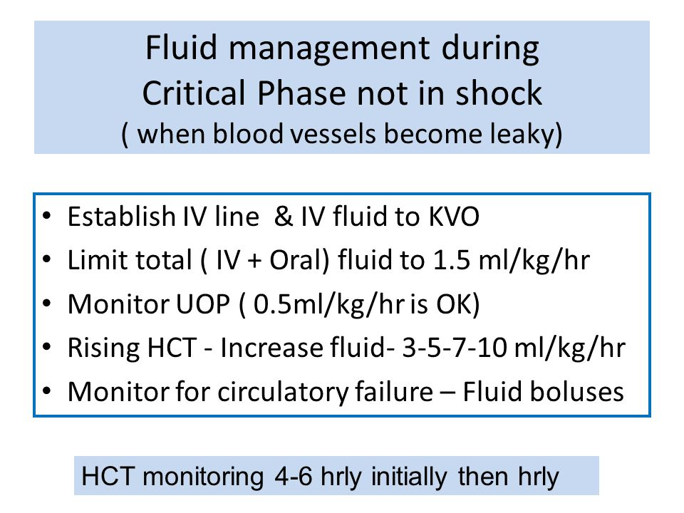 Fluid management during Critical Phase not in shock ( when blood vessels become leaky)
