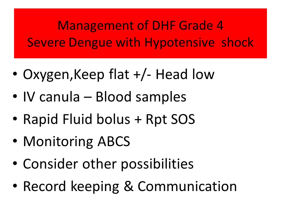 Management of DHF Grade 4 Severe Dengue with Hypotensive shock