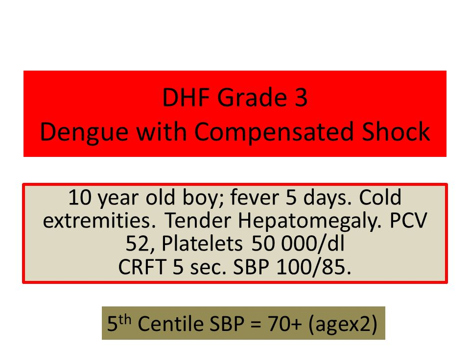 DHF Grade 3 Dengue with Compensated Shock