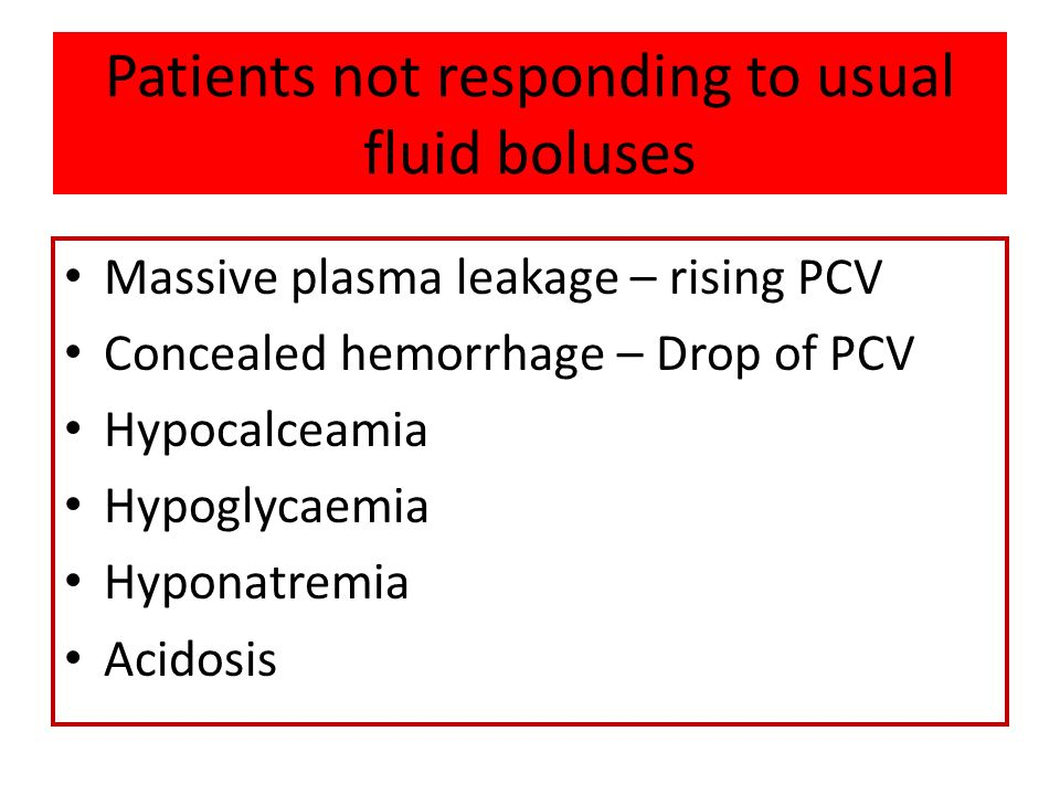 Patients not responding to usual fluid boluses