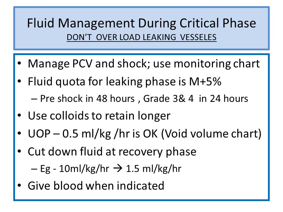 Fluid Management During Critical Phase DON'T OVER LOAD LEAKING VESSELES