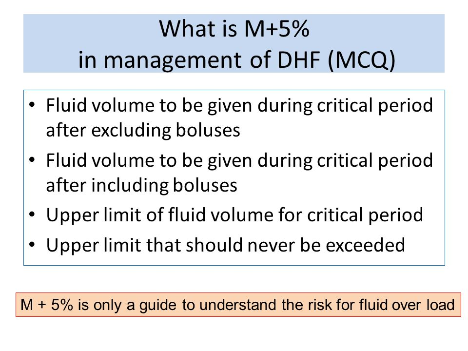 What is M+5% in management of DHF (MCQ)