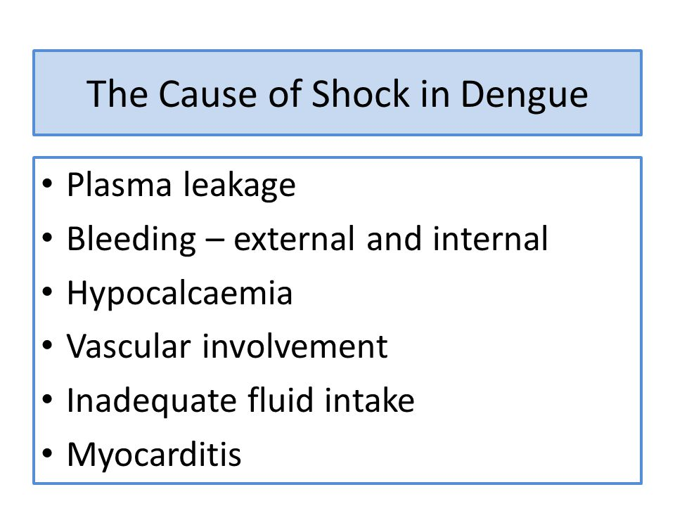 The Cause of Shock in Dengue