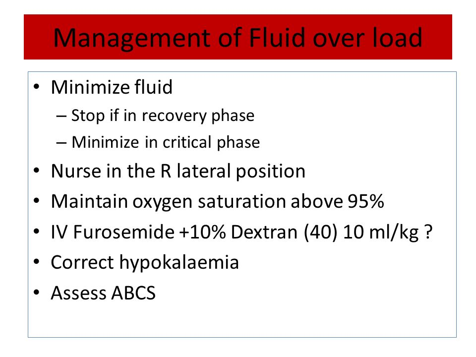 Management of Fluid over load