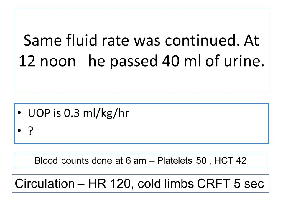 Same fluid rate was continued. At 12 noon he passed 40 ml of urine.