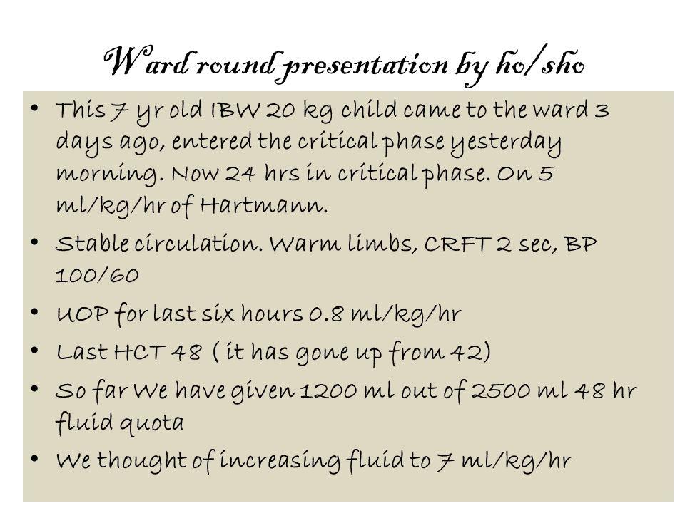 Ward round presentation by ho/sho