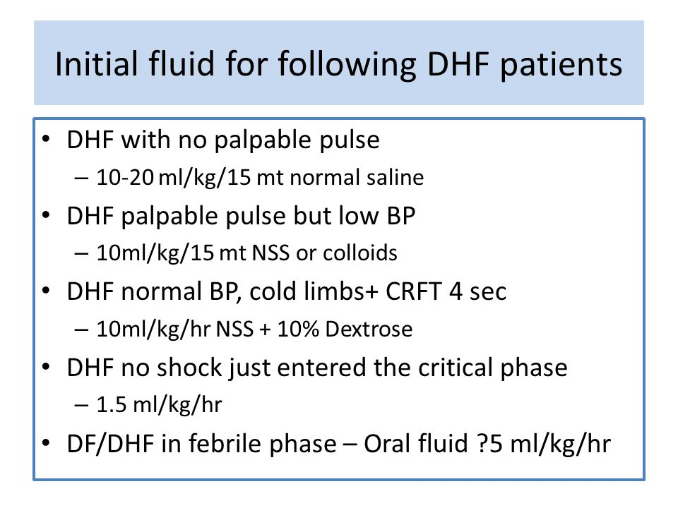 Initial fluid for following DHF patients