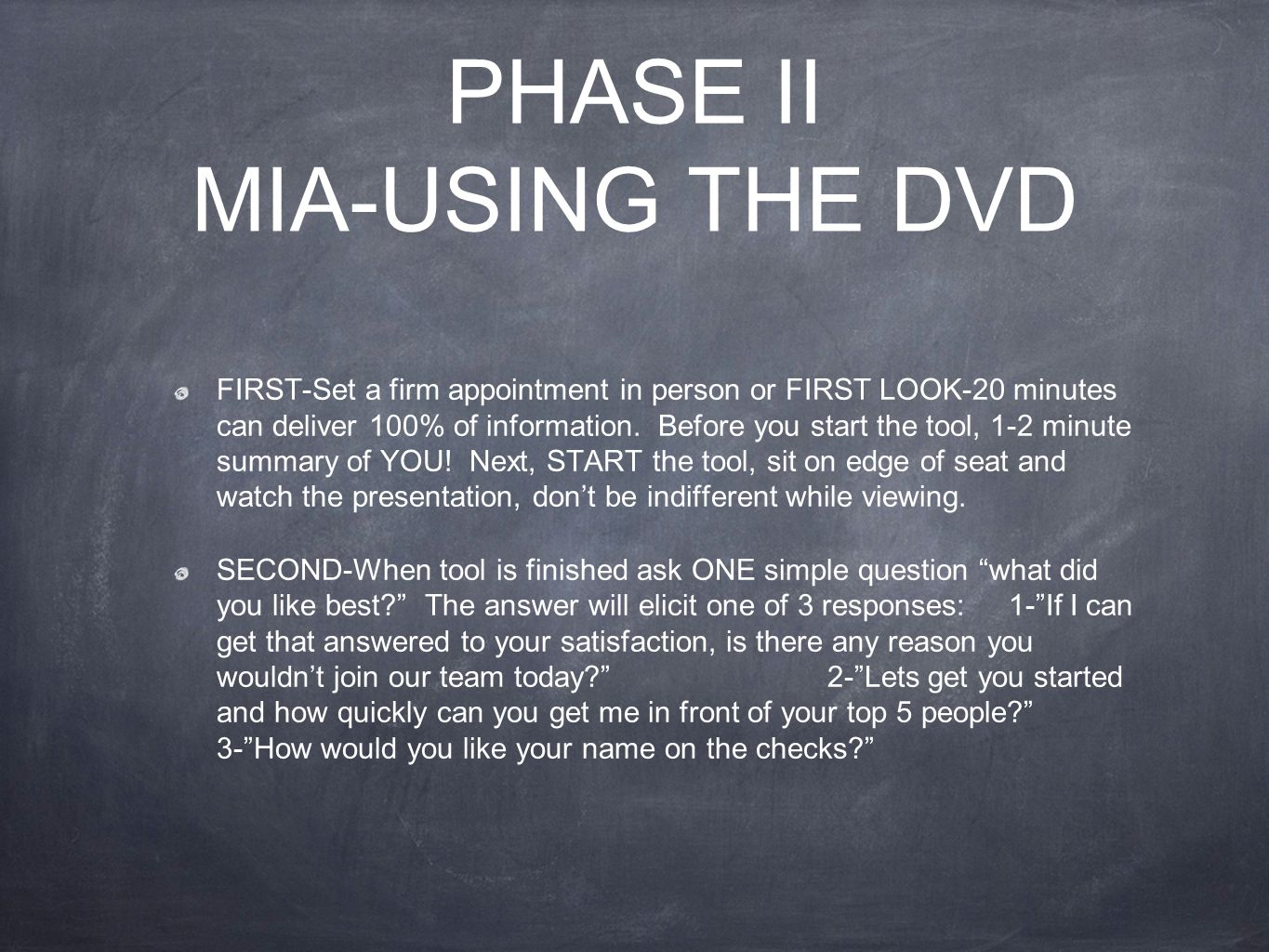 PHASE II MIA-USING THE DVD