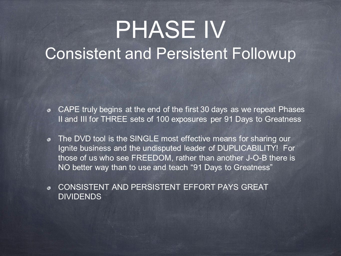 PHASE IV Consistent and Persistent Followup