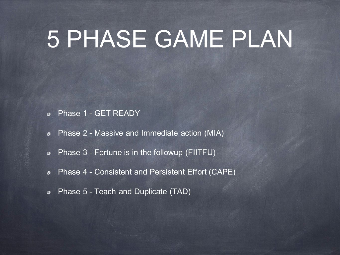 5 PHASE GAME PLAN Phase 1 - GET READY