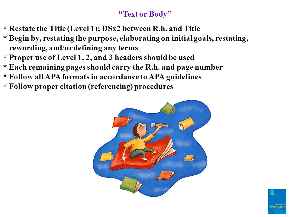 Text or Body * Restate the Title (Level 1); DSx2 between R.h. and Title.