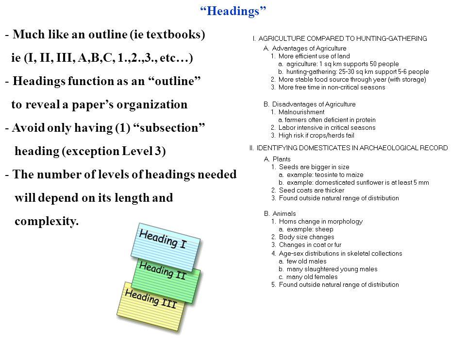 Headings Much like an outline (ie textbooks) ie (I, II, III, A,B,C, 1.,2.,3., etc…) Headings function as an outline